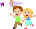 Cartoon Kids Catching Butterfly Royalty Free Stock Photos - 45746298