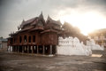 Wood Church Of Nyan Shwe Kgua Temple In Myanmar. Stock Image - 45757951