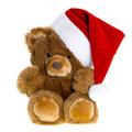 Cute Vintage Teddy Bear With Red Santa Hat Royalty Free Stock Image - 45758476