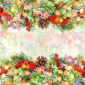 Christmas Tree Branch With Red Berries And Bokeh Lights Royalty Free Stock Photo - 45759195