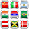 Metal Square National Flags Stock Photo - 45760350