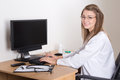 Young Woman Doctor Working With Computer In Office Royalty Free Stock Photo - 45761275