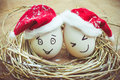 Happy Eggs With Painted Faces In The Nest For Christmas Stock Photo - 45763120