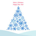 Christmas Tree From Snowflakes. Stock Image - 45763391