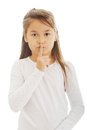Beautiful Girl Asking For Silence Royalty Free Stock Photo - 45803845