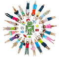 Group Of Children Circle With Hobby Symbols Royalty Free Stock Image - 45806276
