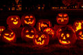 Lighted Halloween Pumpkins With Candles Stock Images - 45809204