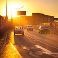 Cars In Motion Blur On Street During Sunset Stock Image - 45809571