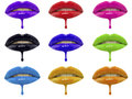 Collage Of Multicolored Lip Glosses Dripping From Woman S Lips Over White Background Stock Photos - 45826563