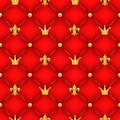 Red Texture With Crowns, Lilies And Buttons. Royalty Free Stock Image - 45839596