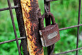 Rusty Closed Lock On A Gate Stock Image - 45843581