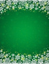 Green Background With  Frame Of Snowflakes Royalty Free Stock Photos - 45845398