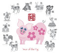 Chinese New Year Pig Color With Twelve Zodiacs Vector Illustration Royalty Free Stock Photography - 45847287