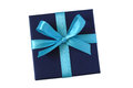 Blue Gift Box With Bow Royalty Free Stock Photography - 45855437