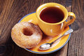 Donut With Sugar And Tea Stock Image - 45877281