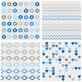 Flowers Dots Diamonds And Hearts Blue Seamless Pattern Set Royalty Free Stock Photography - 45897357