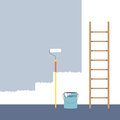 Ladder, Paint Roller And Paint Bucket Home Improvement Stock Image - 45906341