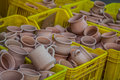 Rustic Handmade Ceramic Clay Brown Terracotta Cups Souvenirs At Stock Photo - 45919860