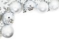 Christmas Border Of Snowflakes And Silver Baubles Royalty Free Stock Photo - 45926455