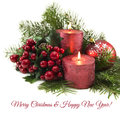Red Candles With Berries And Conifer Branches Royalty Free Stock Image - 45933826