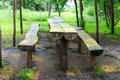 Table And Benches Made Of Logs In The Park Stock Image - 45937731