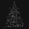 Abstract Christmas Tree In Line Style Stock Image - 45941551