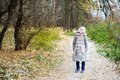 Kid Girl In The Autumn Forest Royalty Free Stock Photos - 45943258