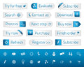 Light Web Buttons With Blue Bookmarks And Icons Royalty Free Stock Photos - 45945978
