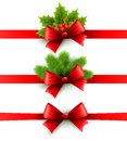 Red Holiday Ribbon With Bow. Holly And Pine Stock Images - 45954244