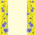 Greeting Card, Blue Bells On Gold Background. Royalty Free Stock Images - 45956949