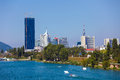 Waterskiing In Vienna With Modern City Skyline On Background Royalty Free Stock Photo - 45958985