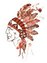 Watercolor Native American Indian Chief Royalty Free Stock Images - 45971429