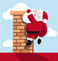 Santa Hanging On The Chimney Royalty Free Stock Photos - 45991818