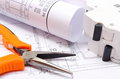 Electrical Diagrams, Electric Fuse And Work Tools On Construction Drawing Of House Stock Images - 46006944