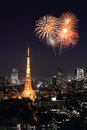 Fireworks Celebrating Over Tokyo Cityscape At Night Royalty Free Stock Photography - 46013777