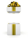 Open White Gift Box With Gold Bow Isolated On White Background 6 Royalty Free Stock Images - 46014289