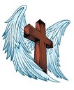 Angel Wings With Wooden Cross Royalty Free Stock Photos - 46030418