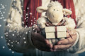 Lamb Toy And Christmas Gift Stock Image - 46059481