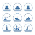 Silhouettes Of Ships And Marine Structures Stock Photo - 46068490