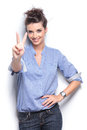Young Fashion Womanhowing The Victory Sign Stock Image - 46081571