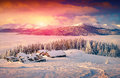 Colorful Winter Sunrise In Foggy Mountains Royalty Free Stock Photo - 46083675