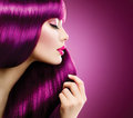 Beauty Woman With Purple Hair Stock Images - 46094034