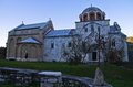 White Marble Church From 12. Century Inside Studenica Monastery At Sunset Stock Photography - 46095362