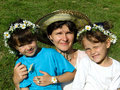 Family With Daisy Chains Stock Photo - 4617180