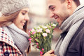 Romantic Couple With Flowers Royalty Free Stock Photos - 46110718