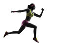 Woman Runner Running Jumping  Silhouette Royalty Free Stock Images - 46114409