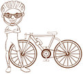 A Plain Sketch Of A Cyclist Royalty Free Stock Photo - 46120925