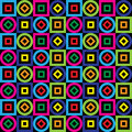 Seamless Pattern. Squares, Circles, Diamonds On A Black Background. Vector. Royalty Free Stock Images - 46122169