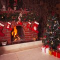 Christmas Fireplace In The Room Stock Photography - 46126012