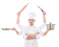Cooking Concept -young Man In Chef Uniform With Six Hands Holdin Royalty Free Stock Photo - 46126705